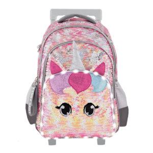 Mochila Estrellas-Unicornio rosa con carrito