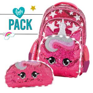 Pack mochila grande + estuche doble Estrellas-Unicornio fucsia