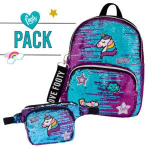 Pack mochila + riñonera Loving lila