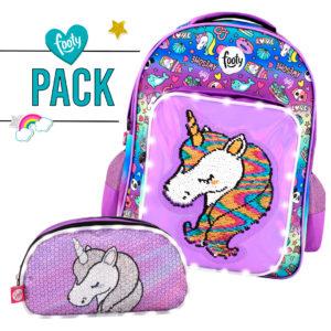 Pack mochila grande + estuche doble UNICORNIO lila