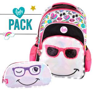 Pack mochila grande + estuche doble SMILE negro