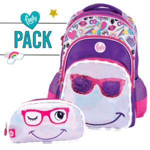 Pack mochila grande + estuche doble SMILE lila