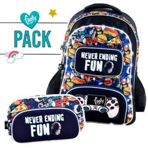 Pack mochila grande + estuche doble JOYSTICK azul