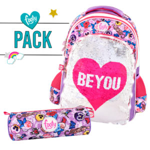 Pack mochila grande + estuche BE YOU rosa