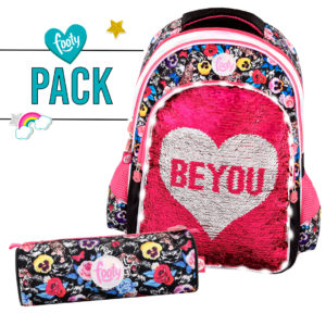 Pack mochila grande + estuche BE YOU negro