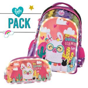 Pack mochila grande + estuche doble llama malva