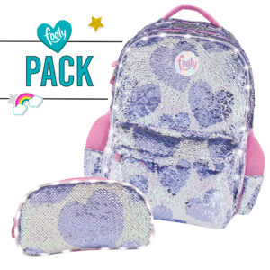 Pack mochila grande + estuche doble multicorazones malva