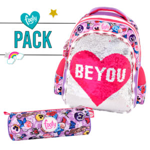 Pack mochila mediana + estuche BE YOU rosa