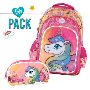 Pack mochila grande + estuche doble Unique rosa