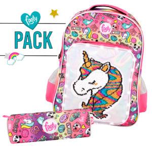 Pack mochila grande + estuche Unicornio rosa