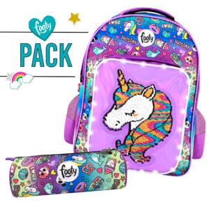 Pack mochila grande + estuche UNICORNIO lila
