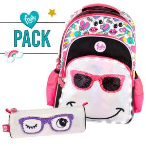Pack mochila grande + estuche SMILE negro