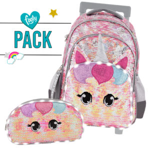 Pack mochila + estuche Estrellas rosa con carrito