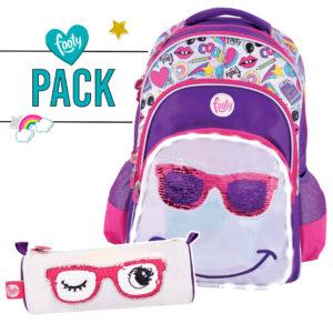 Pack mochila grande + estuche SMILE lila