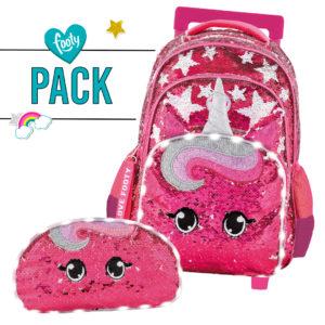 Pack mochila + estuche Estrellas fucsia con carrito