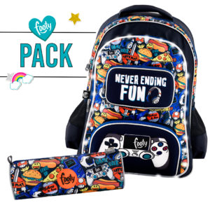 Pack mochila grande + estuche JOYSTICK Azul