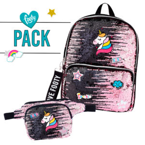 Pack mochila + riñonera Loving rosa