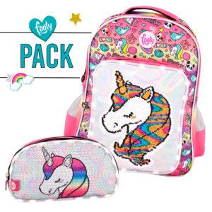 Pack mochila grande + estuche doble UNICORNIO rosa