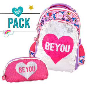 Pack mochila grande + estuche doble BE YOU rosa