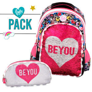 Pack mochila grande + estuche doble BE YOU negra