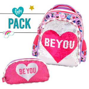 Pack mochila mediana + estuche doble BE YOU rosa
