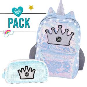Pack mochila grande + estuche doble LENTEJUELAS plateado