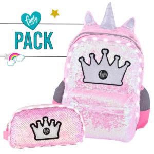 Pack mochila grande + estuche doble LENTEJUELAS rosa