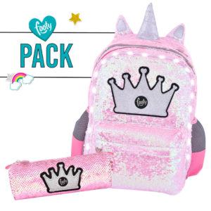 Pack mochila grande + estuche LENTEJUELAS rosa