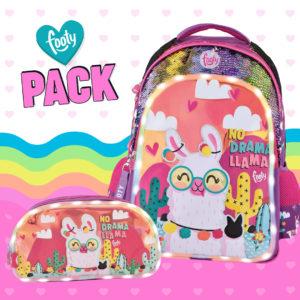 Pack mochila + estuche doble Llama malva